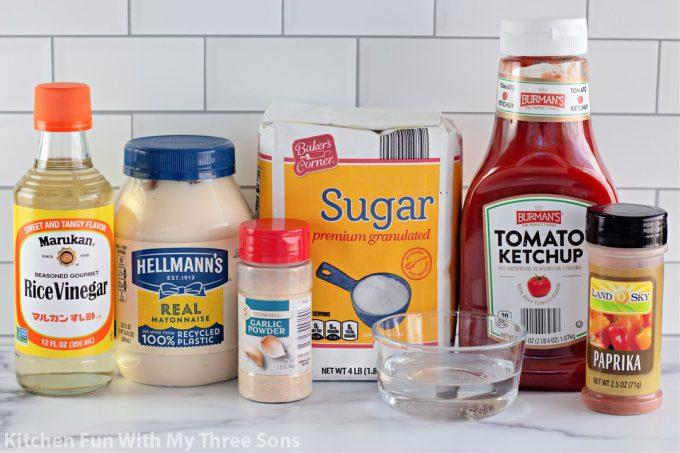 ingredients to make Homemade Yum Yum Sauce.