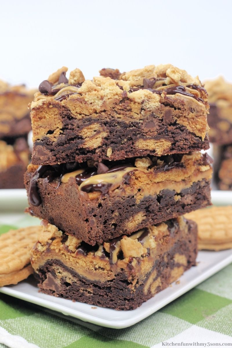 The brownies stacked on top of each other.