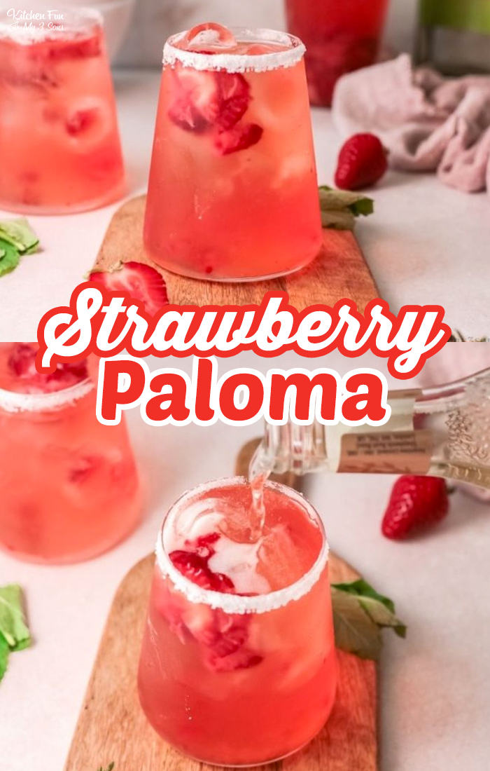 A Strawberry Paloma Cocktail recipe is a quick drink with ginger beer, fruit juice and tequila. So refreshing and tasty. #Recipes #Drinks #Cocktails