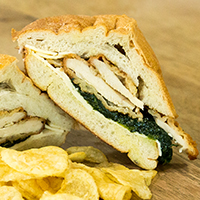 Chicken Italiano - Free-range chicken cutlet with sautéed spinach florentine, sharp provolone, and lightly drizzled EVOO