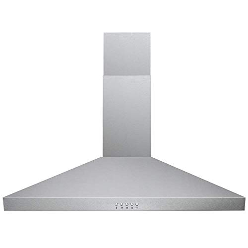 CAVALIERE 36 Inch Glass Canopy Island Mounted Stainless Steel Kitchen Range Hood
