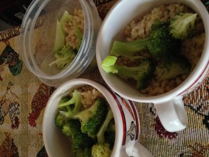 Steamed broccoli and brown rice