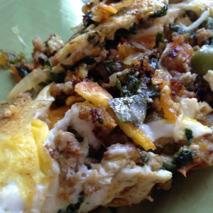 Turkey and Kitchen Garden Vegetable Omelet