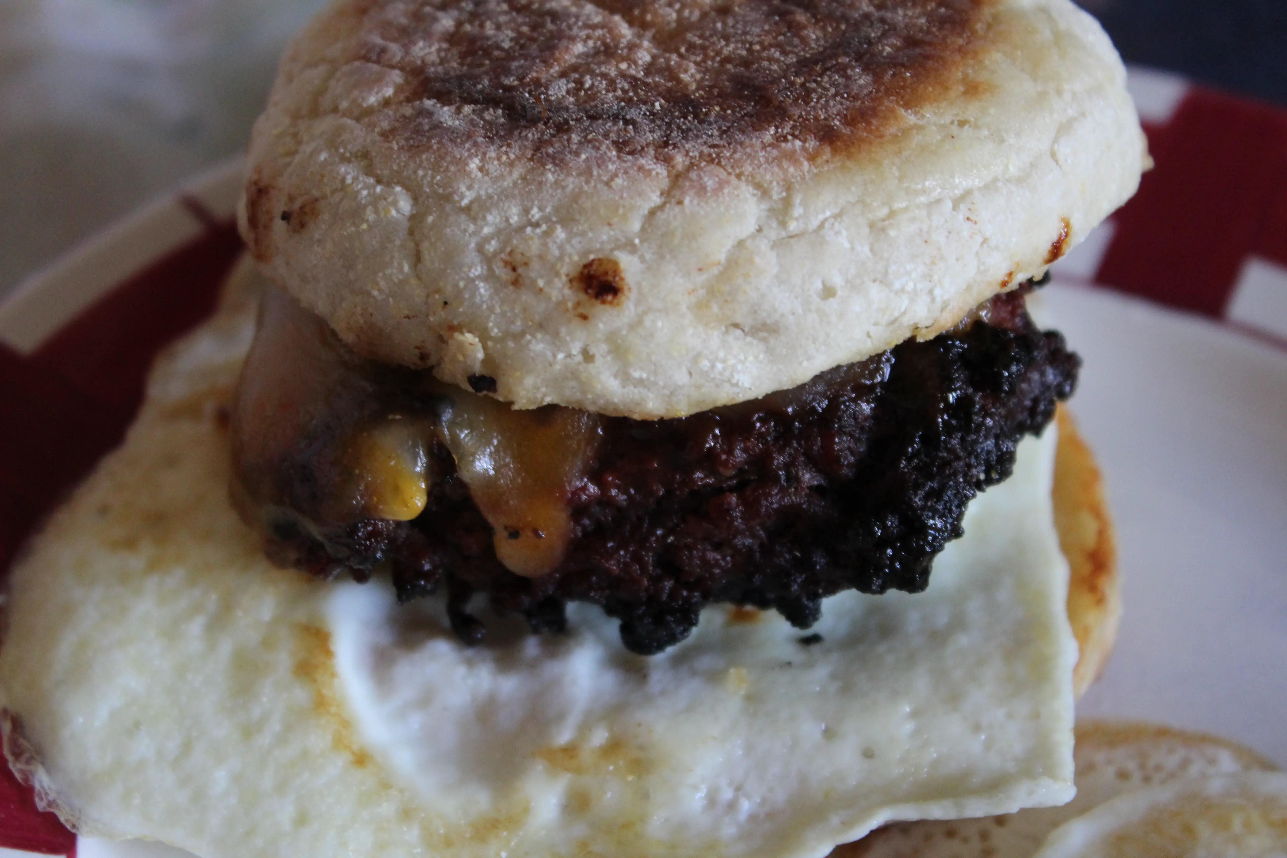 Grilled Hamburger Breakfast Muffin