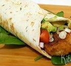Wrap met krokante vis en spinazie