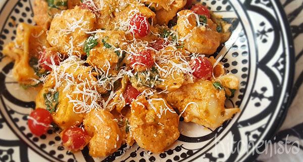 Pasta met garnalen, tomaat en truffel