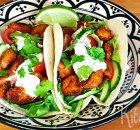 Crispy chicken taco met ranchdip