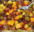 Geroosterde spruiten, pompoen en chorizo