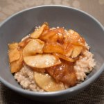 Butter-Toasted Oatmeal with Sticky Apple Topping