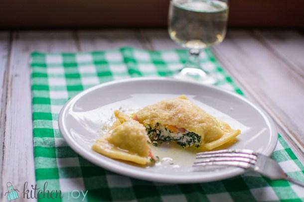 Agnolotti Primavera (Half-Moon Pasta with Spinach and Ricotta filling)