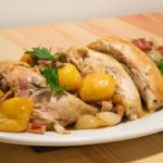 Poulet en Cocotte Bonne Femme (Casserole-roasted Chicken with Bacon, Onions, and Potatoes)