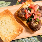 Beef Meatball Sandwich with Melting Mozzarella and Tomato Salsa