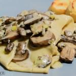 Mushroom and Leek Pasta with Garlic Bruschette