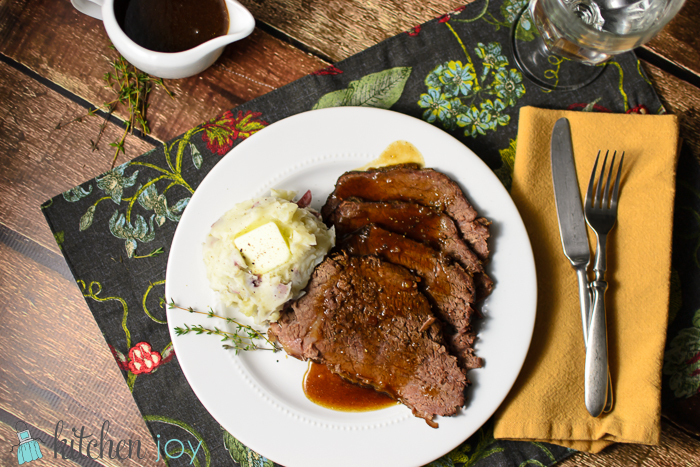 Slow-Cooker Roast Beef with Red Wine Sauce + Alternate Pressure Cooker Method