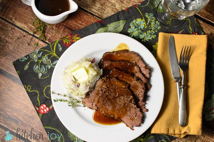 Slow-Cooker Roast Beef with Red Wine Sauce + Alternate Pressure Cooker Method