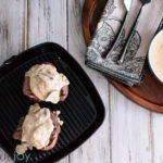 Grilled Steak with Creamy Mushroom Gorgonzola Sauce