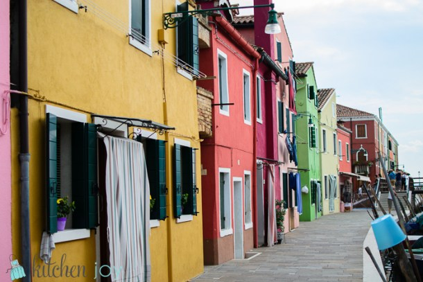 Colorful houses in Burano, Italy.