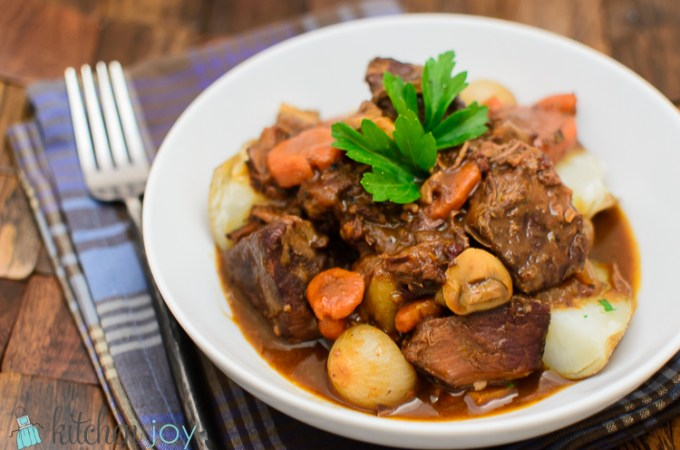 Boeuf Bourguignon (Beef Stew with Red Wine and Mushrooms) - Kitchen Joy