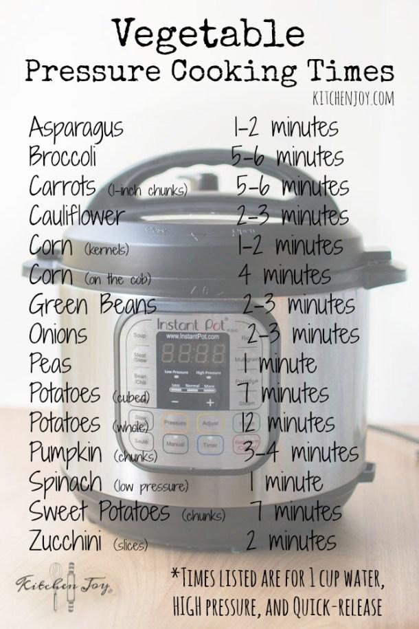 Pressure Cooker Vegetable Cooking Times - Kitchen Joy®