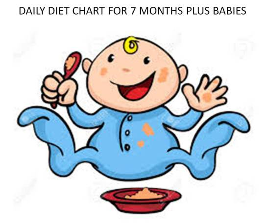 daily diet chart for 7 months plus babies