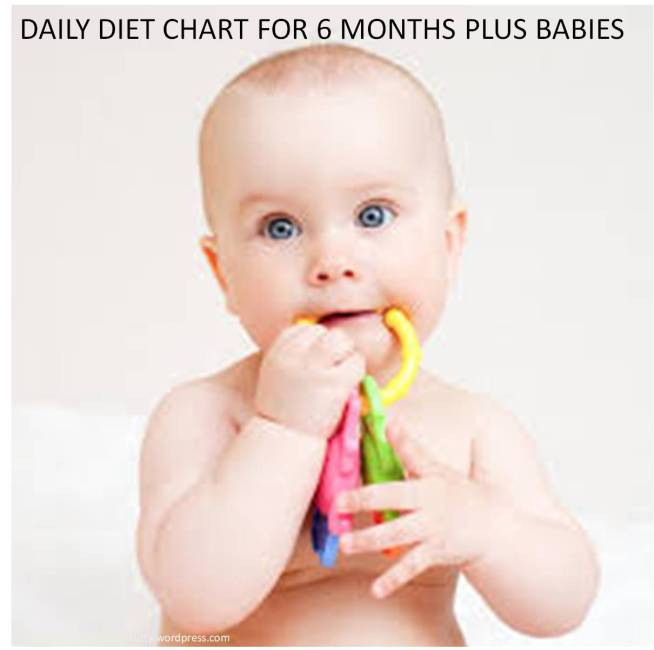 six months plus babies daily diet chart