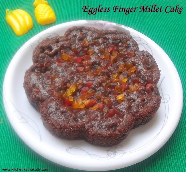 eggless ragi choco chip cake