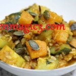 Vegan recipe – Pumpkin and zucchini stew with trio of rice dishes