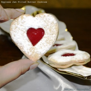 %Eggless Jam Filled Butter Cookies Indian Recipe