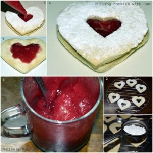 %decoration of  Eggless Jam Filled Butter Cookies making of the dough