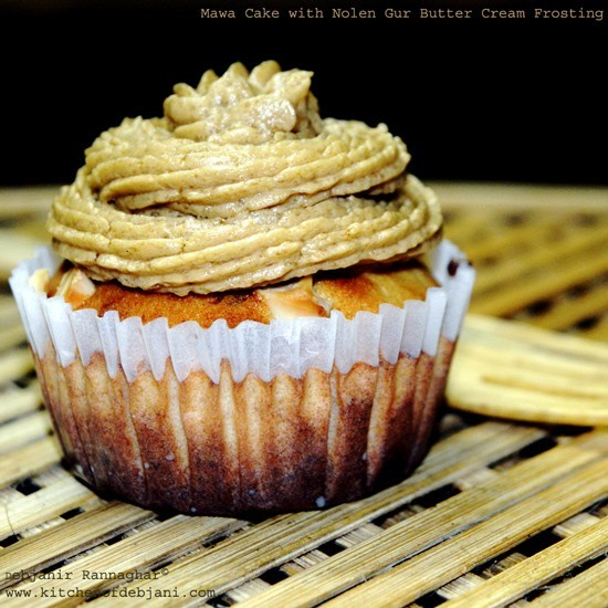 Mawa Cupcake with Nolen Gur Butter Cream Frosting