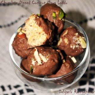 %Chocolate dipped Coconut Mawa Laddu Recipe