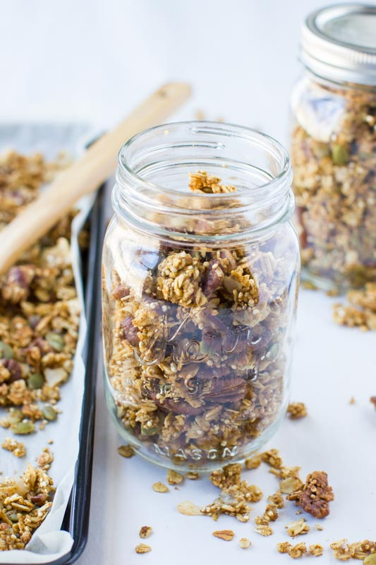 Best pumpkin spice granola recipe. Vegan, healthy, and easy recipe. Not too sweet, just the right amount of spice, and perfect for snacking, cereal, and topping yogurts or salads.