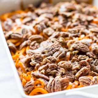 Spiralized Sweet Potato Casserole Recipe: spice up thanksgiving by making your sweet potato casserole spiralized. Vegan recipe optional, made with clean ingredients. hearty and delicious. Thanksgiving side dish, yum!