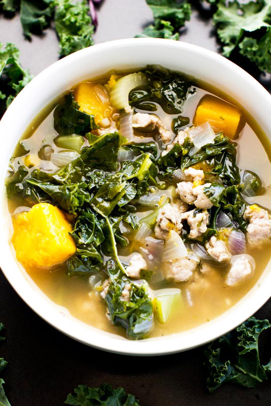 Kale Sausage Soup: Made with butternut squash & fresh herbs. It's hearty, healthy, fresh Paleo & Gluten Free. Delicious & good-for-you flavor.