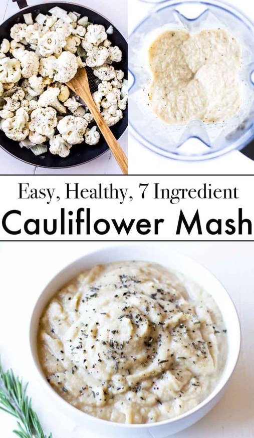 Cauliflower Mash Recipe: Easy, 7-ingredient, creamy + dairy free vegetable side dish suitable to accompany a variety of dinners. Made in a blender or Vitamix. Paleo, Dairy Free, Whole 30, Gluten Free