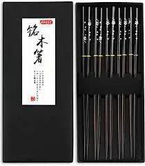 AOOSY 5 Pairs Japanese Natural Wooden Chopsticks