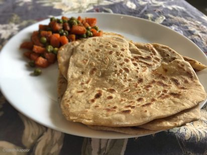 carrot and peas stir fry with flatbreads