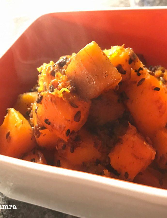 Achari Kaddu or Savoury Butternut Squash