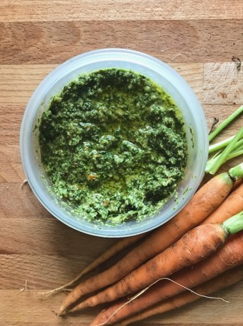 Easy Carrot top leaves pesto recipe