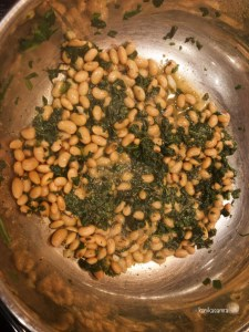 Cooking spinach and black eyed peas