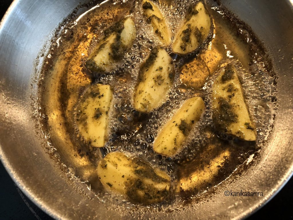 How to shallow fry potato wedges.