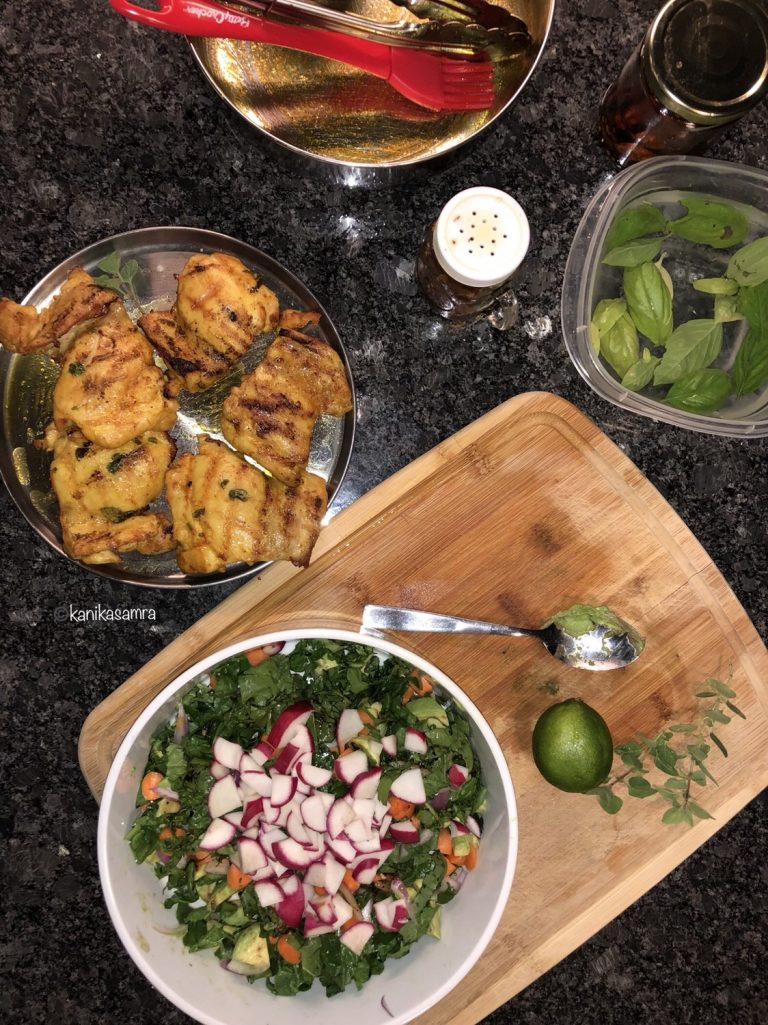 Summer meals with chicken and salad