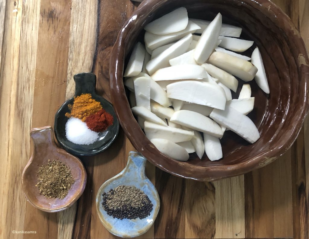 Wedges of colocasia and spices