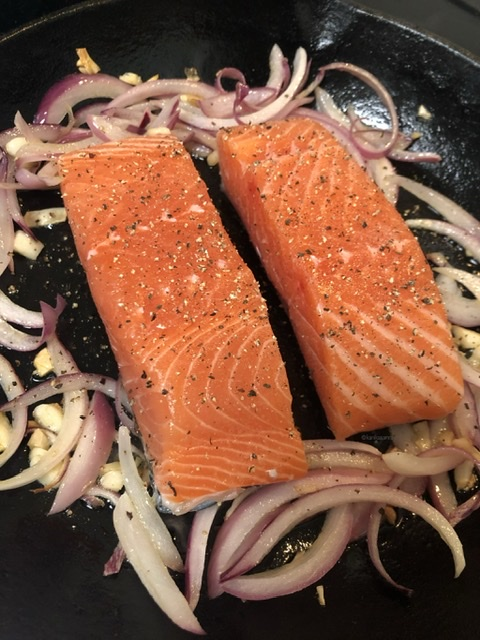 Searing salmon in pan