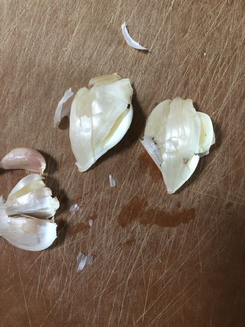 smashed garlic cloves