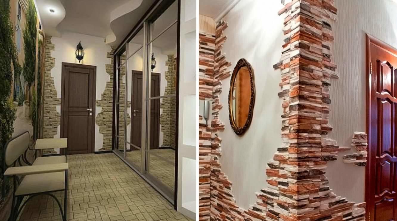 картинки коридора декоративным камнем фото