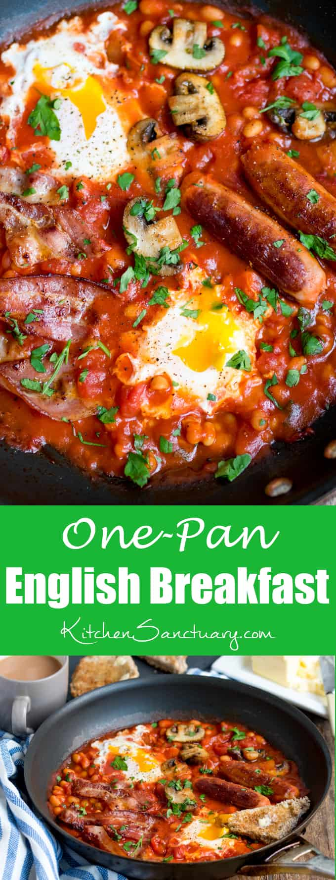 One-Pan English Breakfast with dippy eggs.