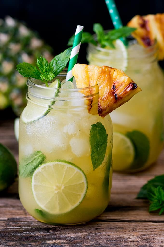 pineapple ginger mojitos with spiced rum nicky 39 s kitchen. Black Bedroom Furniture Sets. Home Design Ideas