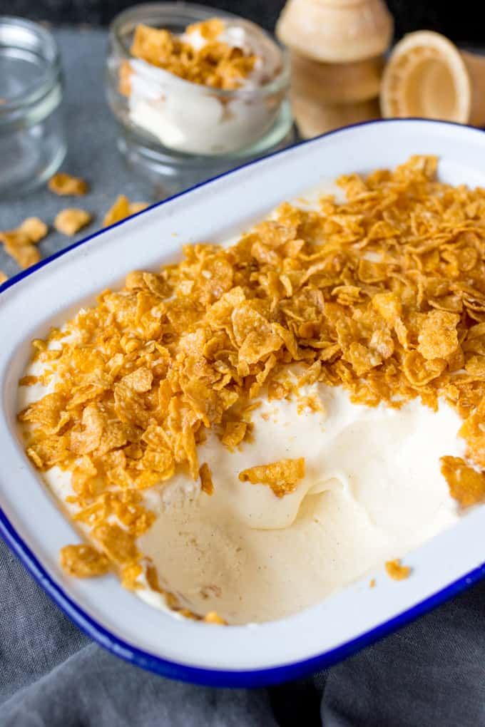 An easy make-at-home ice cream with all the flavour of cereal milk! (Crunchy Nut Cornflake flavour) No ice-cream maker required!
