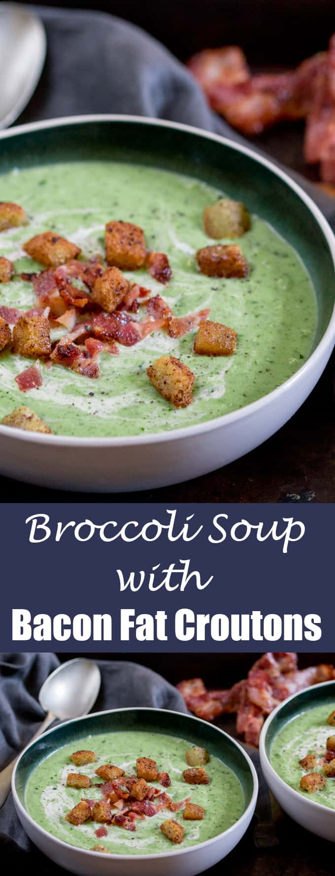 Broccoli Cheese Soup with Bacon Fat Croutons - Speedy comfort food in ...